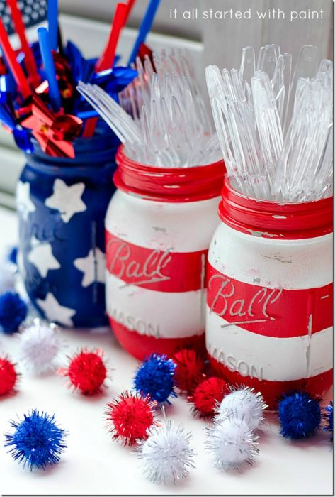 Painted Red, White and Blue Mason Jars