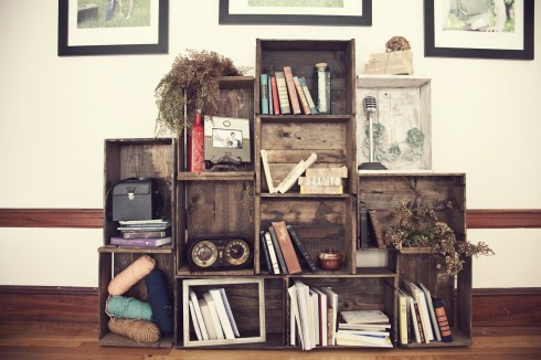Upcycled Wooden Crate Shelf