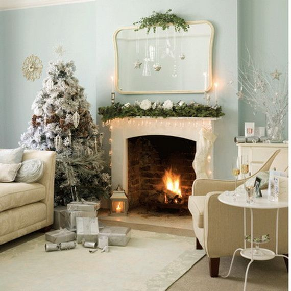 White fireplace design ideas for christmas