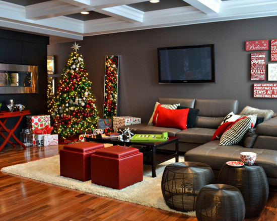 Contemporary living room design idea for christmas